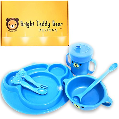 Bright Teddy Bear Dezigns Toddler/Infant Tableware/Dinnerware/Tabletop 7 Piece Set-Non Slip Grip Base-Made from Eco Friendly Corn Starch Microwave & Dishwasher Safe-Break Resistant-Baby Blue