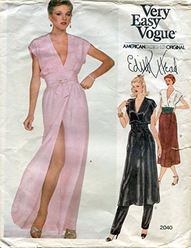 Vogue American Designer Pattern 2040 Edith Head Misses' Dress or Tunic and Pants and Belt, Size 10 (Bust 32 ()
