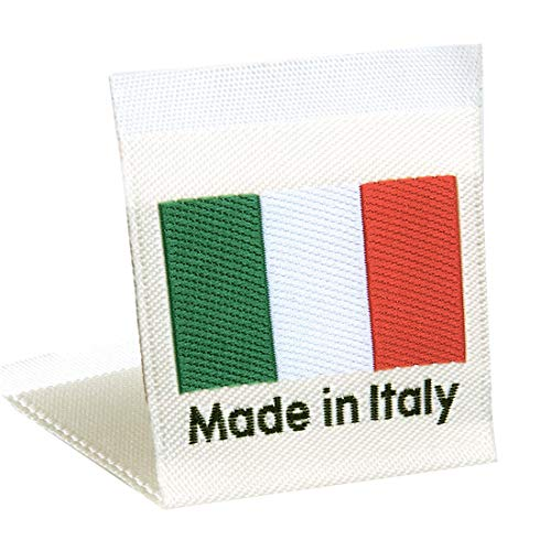 Wunderlabel Italy Flag Crafting Craft Art Fashion Classic Woven Ribbon Ribbons Tag Clothing Sewing Sew on Garment Fabric Material Embroidered Label Labels Tags, Red, White Black on Off White 75 Labels