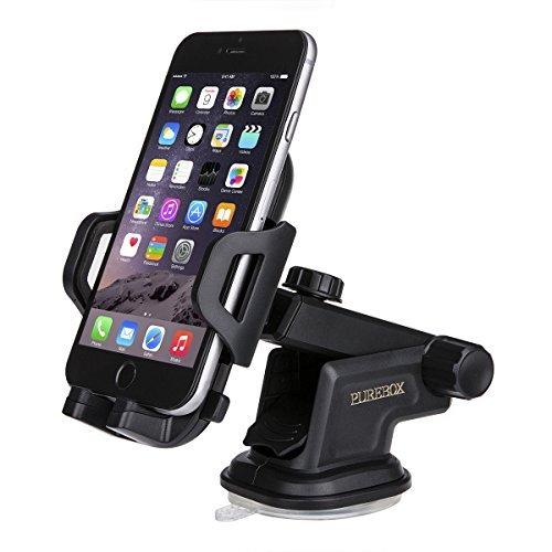 Purebox Car Phone Holder Universal Windshield Dashboard Truck Phone Mount Holder for iPhone X 8 7 7S Plus 6 6S Plus 5 5s Galaxy S5 S6 S7 S8 Google Nexus LG Huawei, Black