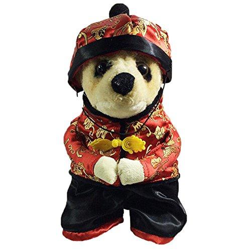[AooToo Pets Cute Panda Winter Warm Pet Costume(Red, XS)] (Pet Panda Costume)