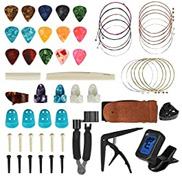 61 PCS Guitar Accessories Kit Including Guitar Picks, Tuner, Strap, Capo, Acoustic Guitar Strings,3 in 1 String Winder…