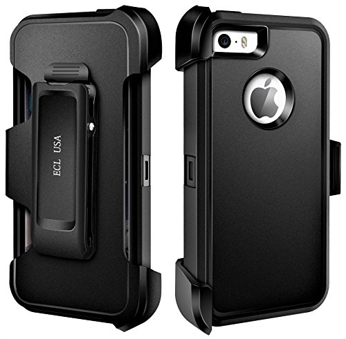ECL USA Case for Apple iPhone SE, 5, 5S Case Cover Armor Tough Shockproof Cover Belt Clip Built-in Screen Protector Case for iPhone 5 / 5SE / iPhone 5S Phone Case. (Black)