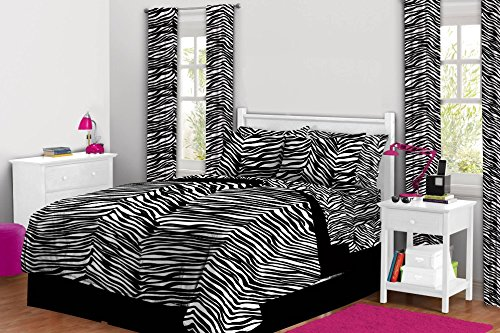 Rock Your Room Reversible Zebra Bed in a Bag Comforter Set, Queen