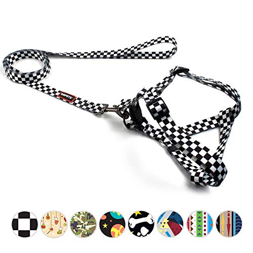 QQPETS Plaid Dog Harness and Leash Set No-Pull Escape Proof Dog Harness for Small Puppy Breed Girl Boy Adjustable Chest:14-20