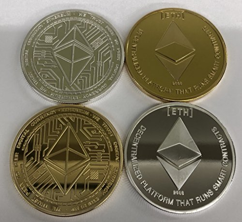 Ethereum Two-pack. Gold & Silver versions. Commemorative Collector's Edition Coins. 24kt gold plated and silver plated. Aizics Mint 2018 (2 Commemorative Coins)