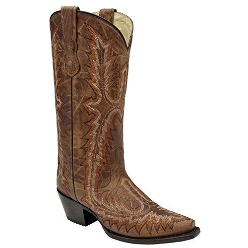 Corral Womens Full Stitch Western Boots Tan, Cognac