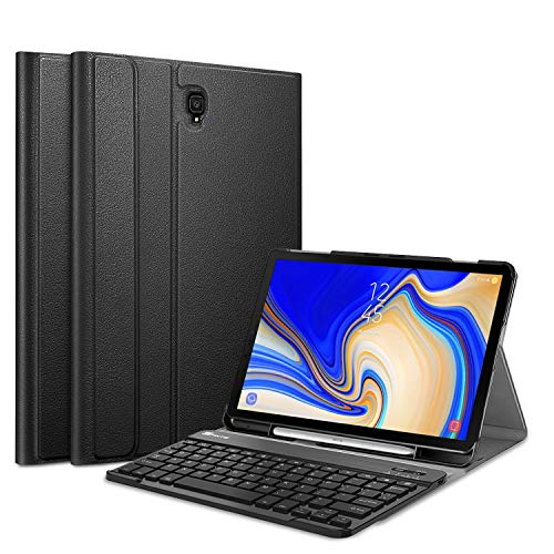 Fintie Keyboard Case for Samsung Galaxy Tab S4 10.5 2018 Model SM-T830/T835/T837, Slim Shell Lightweight Stand Cover with Detachable Wireless Bluetooth Keyboard, Black (Best Cover For Samsung S4)
