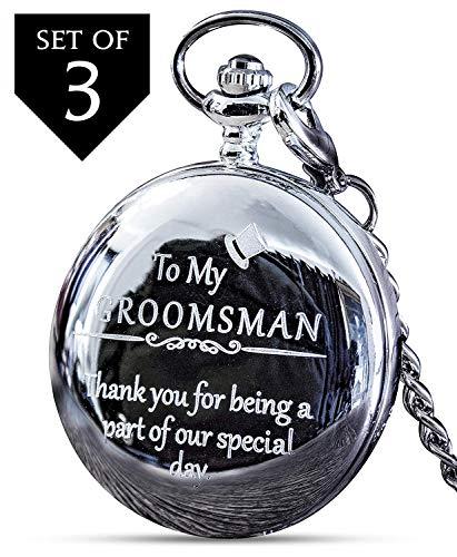 - Groomsmen Gifts for Wedding or Proposal - Engraved Groomsman Pocket Watch - Luxury Wedding Gift