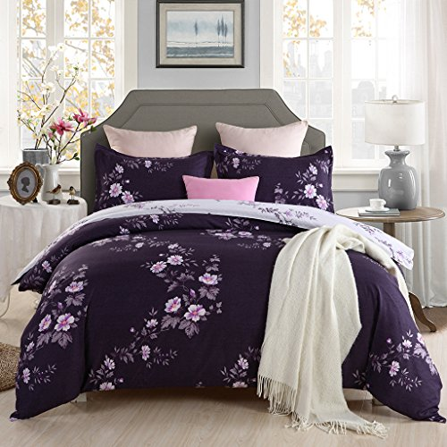 GOOFUN-X2Q Duvet Cover Bedding Set 3pcs Lightweight Microfiber Well Designed 1 Duvet Cover 2 Pillow Shams, Comfortable, Breathable, Soft, Extremely Durable,Full/Queen Size (Duvet Cover Full Purple Queen)