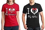 Awkwardstyles Matching Couple Shirt I Love My Husband Wife T-Shirt Red - Black Men X-Large/Ladies Large
