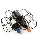Countertop Wine Rack - 9 Bottle Wine Holder for Wine Storage - No Assembly Required - Modern Black Metal Wine Rack - Wine Racks Countertop - Small Wine Rack and Wine Bottle Holder - Tabletop Wine Rack