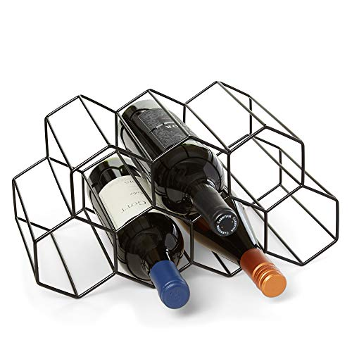 (Countertop Wine Rack - 9 Bottle Wine Holder for Wine Storage - No Assembly Required - Modern Black Metal Wine Rack - Wine Racks Countertop - Small Wine Rack and Wine Bottle Holder - Tabletop Wine Rack)