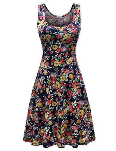Beach Casual Tank Floral Flared Sleeveless 7 Women Dress Flower Herou EfwSvOqW