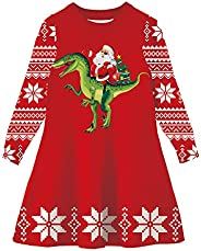ACOCOPY Girls Ugly Christmas Sweater Dress Xmas Long Sleeve Knitted Flared Pullover Dress 2-9 Years