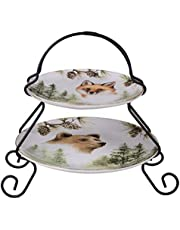 """Certified International 41850 Mountain Retreat 2-Tier Server (7"""" and 9"""" Plate) Servware, Serving Acessories Multicolred"""
