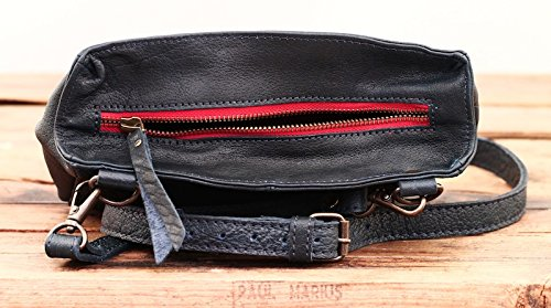 LE GAVROCHE Inchiostro Blu piccola borsa in pelle stile vintage PAUL MARIUS