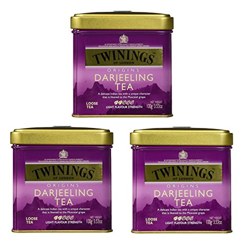 Twinings Black Tea Darjeeling Loose Tea Tin / 100g / 3.5oz. - Pack of 3