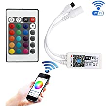 EPBOWPT WiFi Wireless LED Smart Controller Working with Android and IOS System Mobile Phone Free App for RGB LED Light Strips 5050 3528 LEDs 5V to 28V DC 4A Comes With One 24 Keys Remote Control