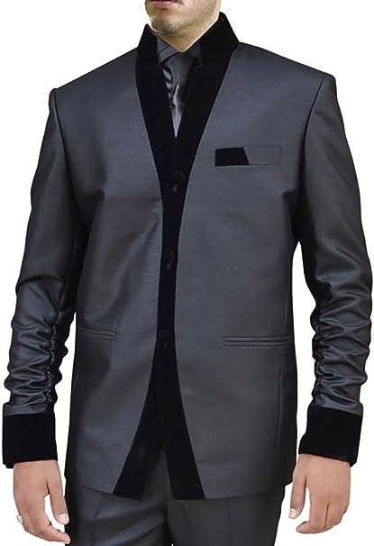 Amazon.com: INMONARCH traje de hombre negro 2 pc Nehru ...