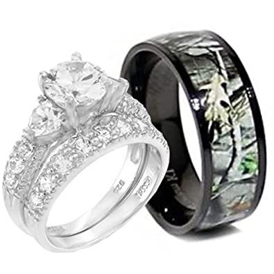 KingswayJewelry 3pc Sterling Silver Heart Stone Ring and Titanium Camo Band RWC06SP08-2