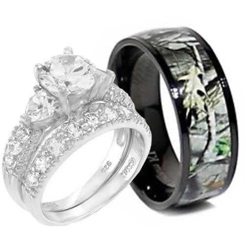 KingswayJewelry 3pc Sterling Silver Heart Stone Ring and Titanium Camo Band #RWC06SP08-2 (Size Men 9; Women 7) by KingswayJewelry (Image #4)