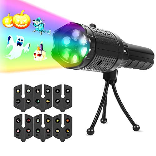 UpperX LED Projector Lights, Battery Operated 2 in 1 Holiday Light &Handheld Flashlight for Home/Outdoor Party,Birthday,Christmas,Halloween,Easter, Black -
