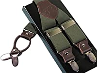 Panegy Men's Solid Suspender Adjustable Y-Shape Suit Brace with 4 Metal Clips