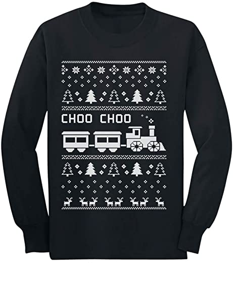 choo choo train childrens ugly christmas sweater cute long sleeve kids t shirt small black - Childrens Ugly Christmas Sweaters
