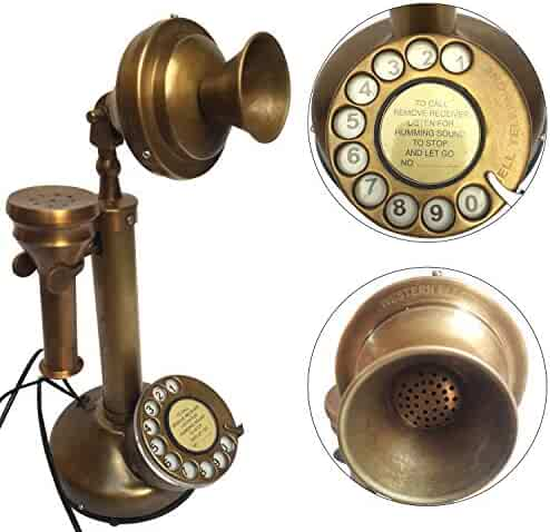 Antique Western Electric Bell Telephone Brass Candlestick Phone Replica Electronic Corded Rotary Dial Home Decor