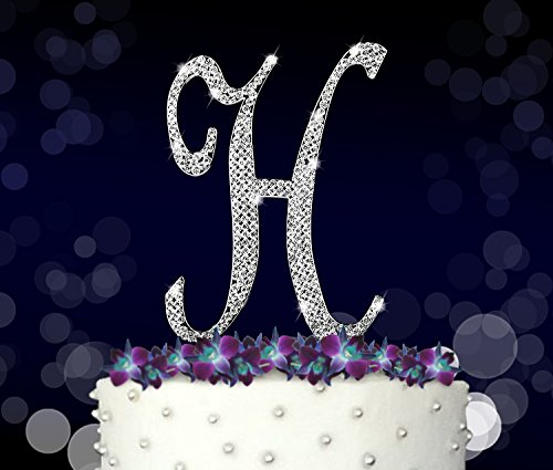 Letter H, Initials, Happy Birthday Cake Topper, Wedding, Anniversary, Vow Renewal, Crystal Rhinestones on Silver Metal, Party Decorations, Favors by FAJ