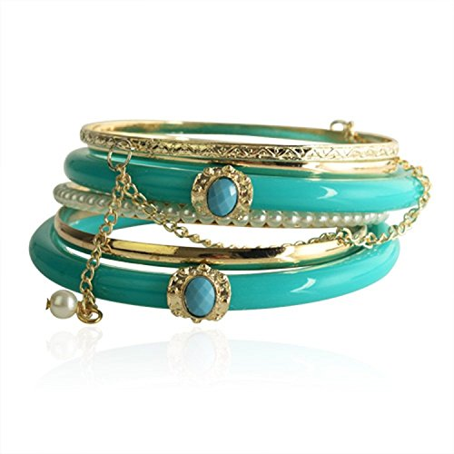 Lureme Vintage Jewelry Bluish Green Resin Pearl Chain Multilayer Bracelet Sets(2 Bluish Green Resin Bracelet 2 Iron Bracelet 1 Iron with Chain Bracelet 1 Iron with Pearl Bracelet) (600156)