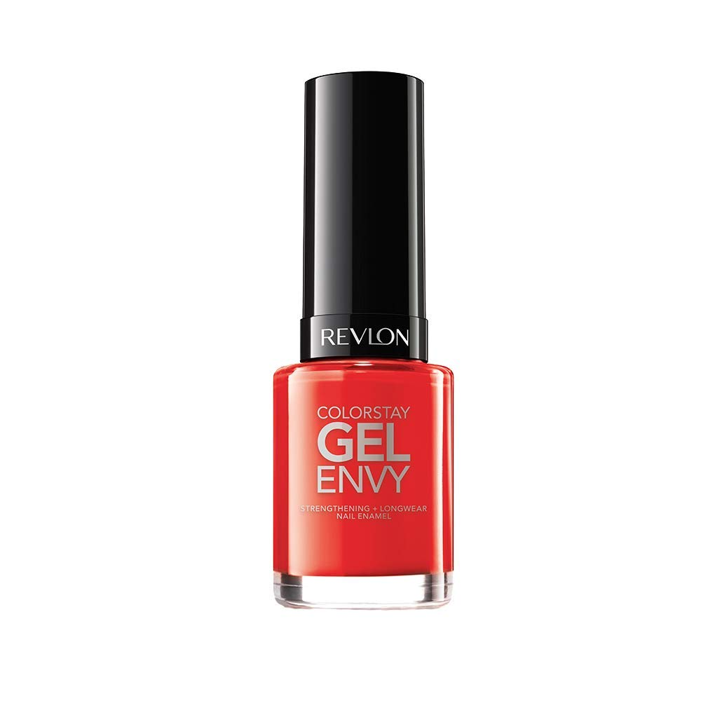Revlon ColorStay Gel Envy Longwear Nail Polish, with Built-in Base Coat & Glossy Shine Finish, in Red/Coral, 625 Get Lucky, 0.4 oz