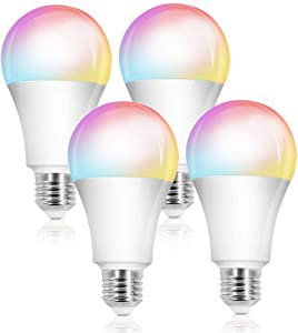 Smart LED Light Bulb, Compatible with Alexa & Google Home Assistant, Music Sync RGB Color Changing Dimmable WiFi Lights, E27/E26, 10W, A19 Equivalent, No Hub Required, Home Decoration, 2700k, 6 Pack