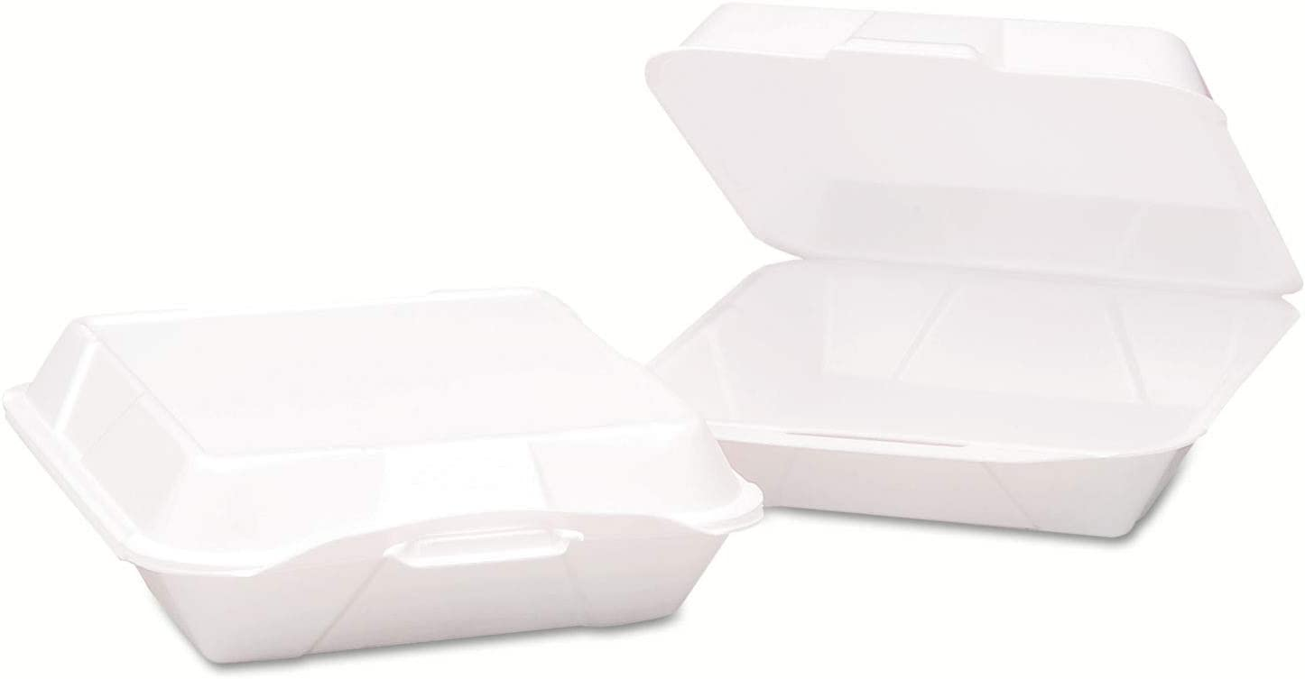 9.19x6 1//2x3 White ESS 100//Bag 2//CT Vented Hinged-Lid Foam Carryout Containers