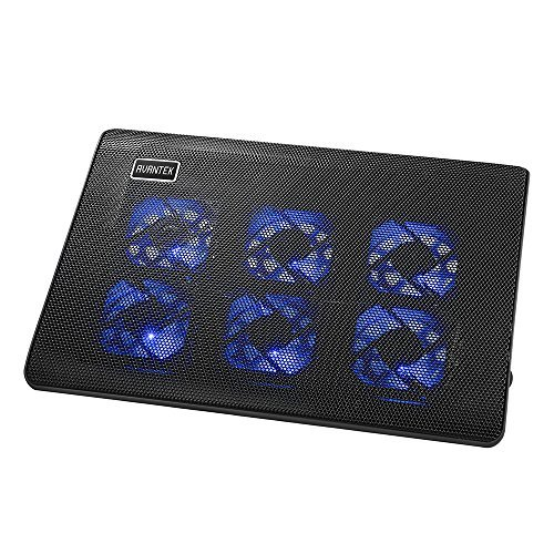AVANTEK Laptop Cooling Pad with 6 Speed-Adjustable Fans, Ultra Slim Notebook Cooler, Quiet Chill Mat for 9'' - 16'' Laptops, 2 USB Ports for both Data and Charging (CPN-002)