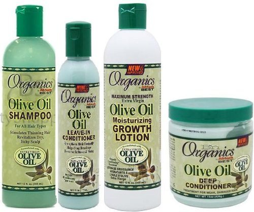 Price comparison product image Afric'as Best Olive Oil Organics 4 Pcs Set (Shampoo, Leave-in Conditioner, Growth Lotion, Deep Conditioner) Plus 2 Free of Apple Eye Pencil Color: Life Green by Africa's Best