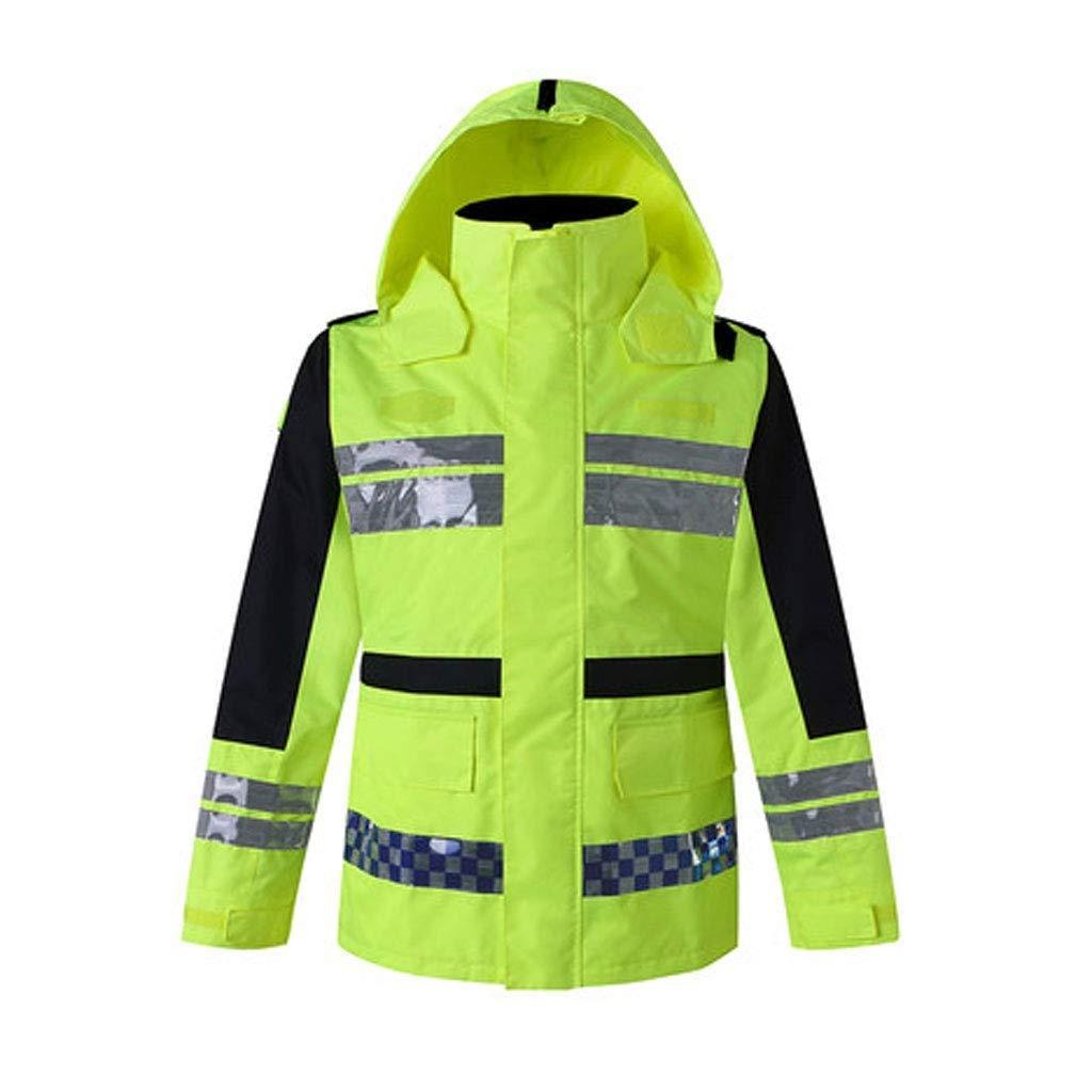 ZHF-Rainwear High Visibility Reflective Raincoat-Traffic Road Safety Clothing Motorcycle Riding Traffic Reflective Jacket Men and Women Split Waterproof Suit (Size : X-Large|Green)