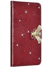 NSSTAR Compatibile con iPhone 11 6.1 Funda de Cuero Diamond Flip Wallet Case,360 Grados Full Body Cover Anverso y reverso PU Wallet Case Carcasa de cuero con abeja en relieve con cordón,marrón/