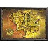Framed Lord Of The Rings (Map Of Middle Earth) Art  24x36 Poster In Silver Finish Wood Frame