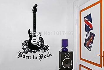 GUITARRA ROCK STAR ETIQUETA DECORACIÓN VINILO ADHESIVO PARED DORMITORIO NIÑOS NIÑOS MÚSICA ARTE,A2050: Amazon.es: Hogar
