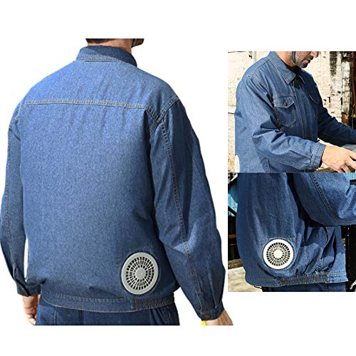 gu6uesa8n 2 Fans Workwear Cooling Jacket with Fan for Men Women High Temp Worker, Summer Outdoors UV Block Air-Conditioned Clothes Blue XXXXL (Air Conditioned Jacket)