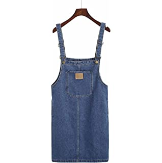 45d98e23fe7 Elwow Girl Lady s Spring   Summer Stretch Loose Style Knee Long Washed Denim  Jeans Dungarees Skirt