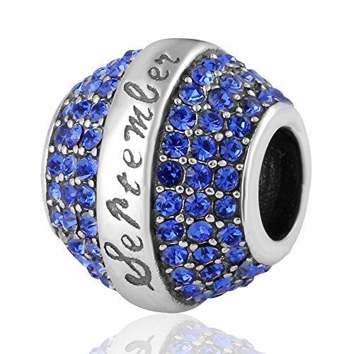 (ABUN Birthday 12 Colors Christmas Charms 925 Sterling Silver Crystal Charm for European Bracelet (Sapphire September Stone))