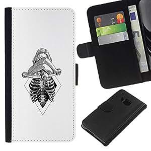 All Phone Most Case / Oferta Especial Cáscara Funda de cuero Monedero Cubierta de proteccion Caso / Wallet Case for HTC One M9 // Skeleton Woman