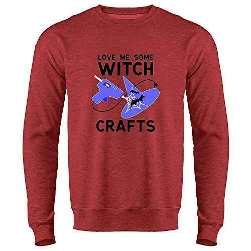 Love Me Some Witch Crafts Heather Red 3XL Mens Fleece Crew Sweatshirt ()