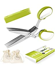 Herb Scissors Set by Chefast - Multipurpose Cutting Shears with 5 Stainless Steel Blades, 2 Drawstring Bags, and Safety Cover with Cleaning Comb - Cutter / Chopper / Mincer for Herbs - Kitchen Gadget