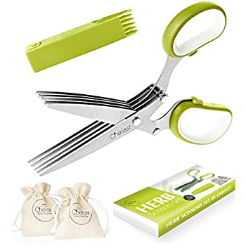 Herb Scissors Set By Chefast   Multipurpose Cutting Shears With 5 Stainless  Steel Blades, 2 Jute Pouches, And Safety Cover With Cleaning Comb ...