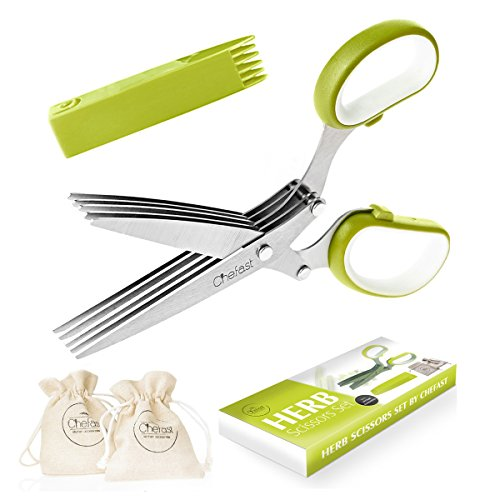 Herb Scissors Set by Chefast - Multipurpose Cutting Shears with 5 Stainless Steel Blades, 2 Jute Pouches, and Safety Cover with Cleaning Comb - Cutter / Chopper / Mincer for Herbs - Kitchen Gadget Herb Shears