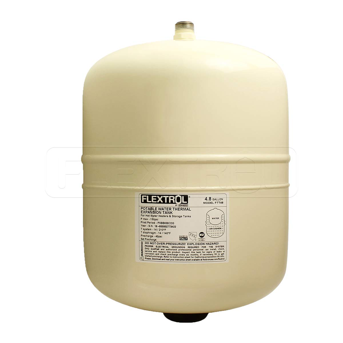Flextrol Thermal Expansion Tanks - For Hot Water Heaters 4.8 Gallons, Carbon Steel Shell, Stainless Steel 3/4 Inch MIP Connection, Butyl Diaphragm, 150 PSI, 210 Degrees Fahrenheit, Almond Color